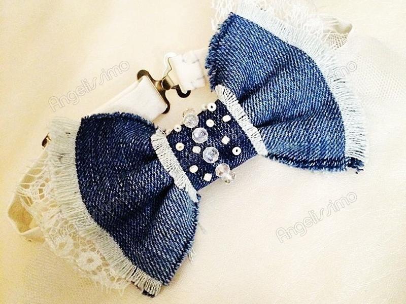 Бабочка из синей джинсы с бисером от BowtiEsta