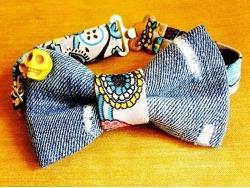 Бабочка из синей джинсы с черепом от BowtiEsta