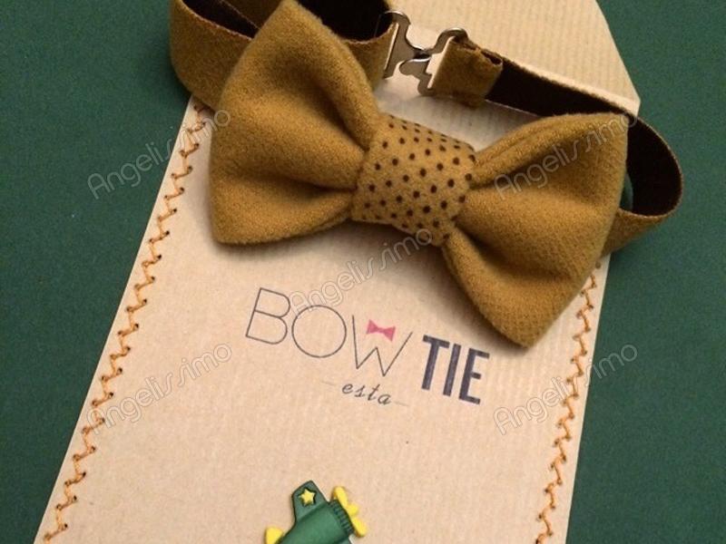 Бабочка из темно-желтого велюра от BowtiEsta