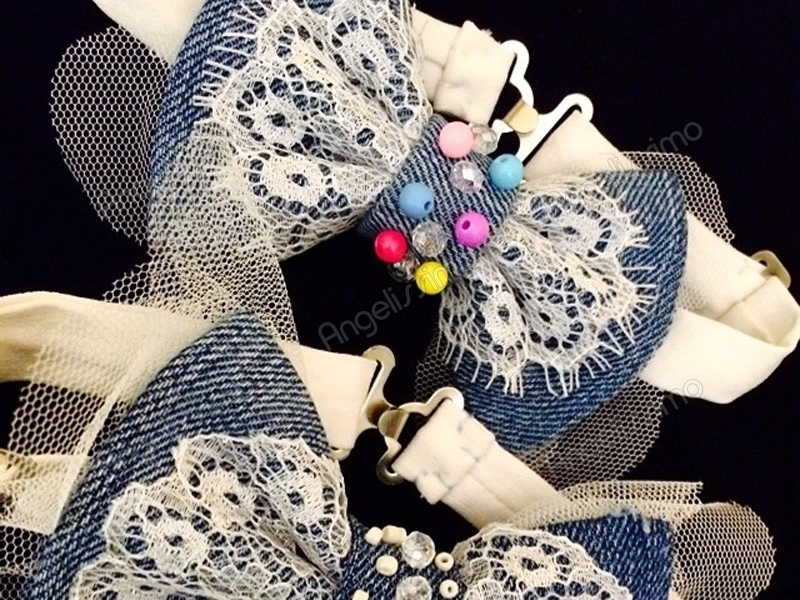 Бабочка с кружевом и бусинами от BowtiEsta