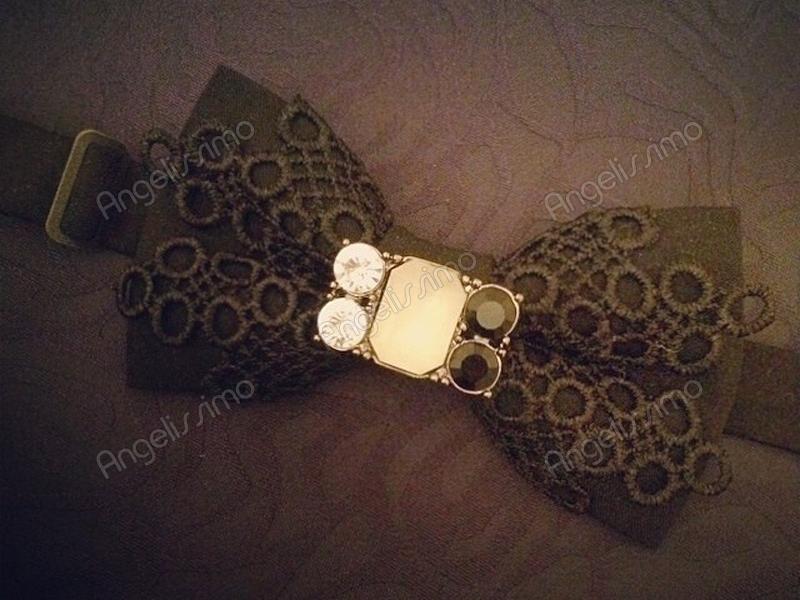 Бабочка с черным кружевом и брошью от BowtiEsta