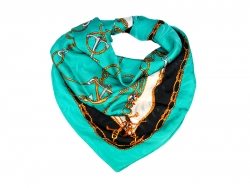 Платок на голову из ткани Hermes темно-бирюзового цвета