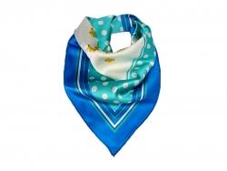 Платок шейный синего цвета в белый горошек с золотыми цветами в центре
