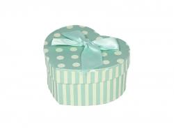 Подарочная коробка бирюзового цвета в светлый горошек