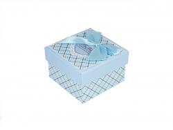 Подарочная коробка голубого цвета с бантом малая