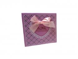 Подарочная коробка розового цвета с бантом большая