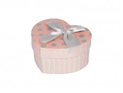 Подарочная коробка розового цвета в серый горошек