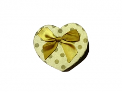 Подарочная коробка желтого цвета в золотой горошек